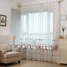 cheap Curtains & Drapes-Sheer Curtains Shades  Two Panels Living Room Leaf Polyester Embroidery