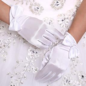 preiswerte Party Zubehör-Stretch - Satin Handgelenk-Länge Handschuh Brauthandschuhe With Schleife