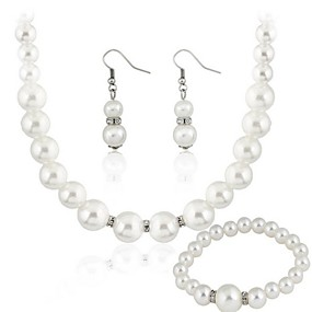 cheap Wedding & Party Jewelry-Women's Clear Jewelry Set Earrings Jewelry White For Party Gift Wedding Party / Necklace