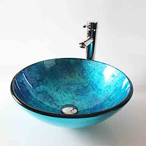 cheap Vessel Sinks-Bathroom Sink / Bathroom Faucet / Bathroom Mounting Ring Contemporary - Tempered Glass Round Vessel Sink