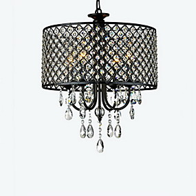 "cheap Ceiling Lights & Fans-4-Light 40(16"") Crystal Chandelier Drum Chrome Modern Contemporary 110V / 110-120V / 220-240V"