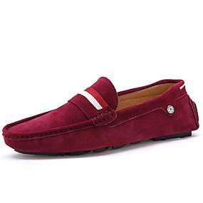 levne Větší obuv-Pánské Suede Shoes Semiš Jaro / Podzim Bristké Nokasíny Černá / Hnědá / Červená / EU40