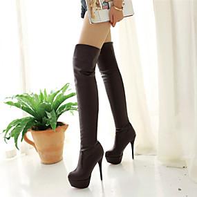 levne Větší obuv-Dámské Boty přes kolena Vysoký úzký Syntetika >50.8 cm Lodičky Zima Černá / Hnědá / Bílá / Ke kolenům