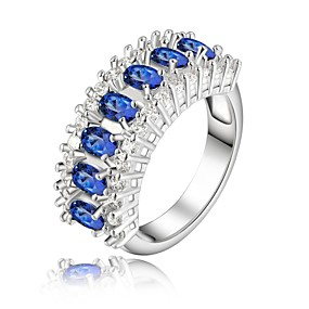 cheap Anniversary-Women's Statement Ring Synthetic Diamond Blue Rhinestone Silver Plated Ladies Fashion Wedding Party Jewelry / Crystal