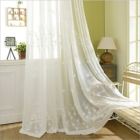 cheap Curtains & Drapes-Eco-friendly Curtains Drapes Two Panels / Embroidery / Bedroom