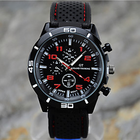 preiswerte Herrenuhren-Herrn Uhr Sportuhr Armbanduhr Quartz Silikon Schwarz Armbanduhren für den Alltag Cool Analog Rot Grün Hellblau / Ein Jahr / Tianqiu 377