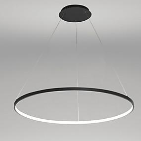 abordables Plafonniers-Ecolight™ Cercle Anneau Lampe suspendue Lumière d'ambiance Finitions Peintes Métal Acrylique LED 110-120V / 220-240V Blanc Crème / Blanc / Wi-Fi intelligent