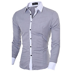 cheap Athleisure Wear-Men's Shirt Solid Colored Long Sleeve Office / Career Slim Tops Business Casual Classic Collar White Black Blue / Fall / Spring / Work