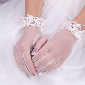 preiswerte Hochzeitshandschuhe-Elastischer Satin / Baumwolle / Seide Handgelenk-Länge Handschuh Charme / Stilvoll / Brauthandschuhe Mit Stickerei / Einfarbig