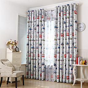 cheap Curtains & Drapes-Blackout Curtains Drapes Two Panels Bedroom Cartoon Polyester Print & Jacquard