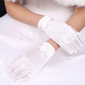 preiswerte Hochzeitshandschuhe-Elastischer Satin / Polyester Handgelenk-Länge Handschuh Klassisch / Brauthandschuhe Mit Einfarbig
