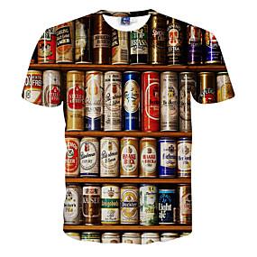 preiswerte Herrenmode-Herrn 3D - Aktiv T-shirt, Rundhalsausschnitt Druck Weiß / Kurzarm / Sommer