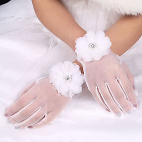 preiswerte Hochzeitshandschuhe-Elastischer Satin / Polyester / Tüll Handgelenk-Länge Handschuh Klassisch / Brauthandschuhe Mit Einfarbig