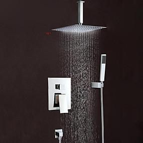 preiswerte Duscharmaturen-Duscharmaturen - Moderne Chrom Wandmontage Messingventil Bath Shower Mixer Taps / Einhand Drei Löcher