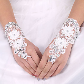 preiswerte Hochzeitshandschuhe-Elastischer Satin / Seide Handgelenk-Länge Handschuh Brauthandschuhe Mit Schleife