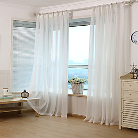 cheap Curtains & Drapes-Jacquard Stripe Sheer Curtain (Two Panel)