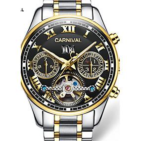 preiswerte Jewelry & Watches-Carnival Herrn Uhr Totenkopfuhr Automatikaufzug Edelstahl Weiß / Gold 30 m Transparentes Ziffernblatt Analog-Digital Charme Schwarz / Gold
