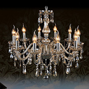 povoljno Stropna svjetla i ventilatori-Ecolight™ 10-Light Svijeća stilu Lusteri Ambient Light Chrome Glass Crystal 110-120V / 220-240V Bulb not included / E12 / E14