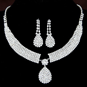 cheap Party Evening-Women's Clear Synthetic Diamond Jewelry Set Drop Earrings Pendant Necklace Drop Teardrop Ladies Luxury Elegant Bridal Rhinestone Earrings Jewelry Set-Square / Set-Chain / Set-Heart For Wedding Party