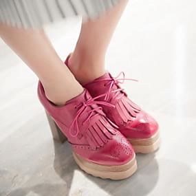 levne Dámské Oxfordky-Dámské / Dívčí Tassel Shoes Kačenka / Platforma Šněrování / Třásně Koženka Jaro / Podzim Černá / Žlutá / Červená / Party