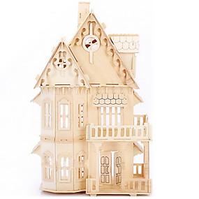 preiswerte Modelle & Modell Kits-Puzzles 3D - Puzzle / Holzpuzzle Bausteine DIY Spielzeug Haus Holz Beige Model & Building Toy