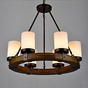 povoljno Viseća rasvjeta-6-Light Svijeća stilu Privjesak Svjetla Uplight Slikano završi Metal Glass Mini Style 110-120V / 220-240V Meleg fehér / Bijela / FCC / VDE / E26 / E27