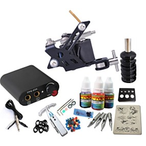 preiswerte Tattoo Beginner Sets-BaseKey Tätowiermaschine Beginner Set, 1 pcs Tattoo-Maschinen mit 1 x 20 ml Tätowierfarben - 1 x Stahl-Tattoomaschine für Umrißlinien und