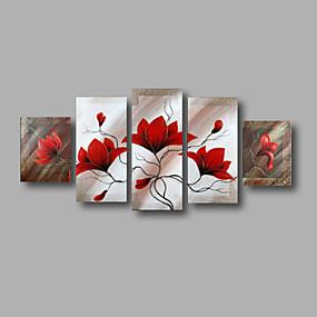 povoljno Slike za cvjetnim/biljnim motivima-Hang oslikana uljanim bojama Ručno oslikana - Cvjetni / Botanički Moderna Uključi Unutarnji okvir / Pet ploha / Prošireni platno