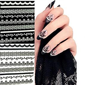 preiswerte Hohler Nagelaufkleber-6 pcs 3D Nails Nagelaufkleber Spitze-Aufkleber Nagel Kunst Maniküre Pediküre Abstrakt / Hochzeit / Modisch Alltag / Spitzen-Aufkleber / 3D Nagel Sticker