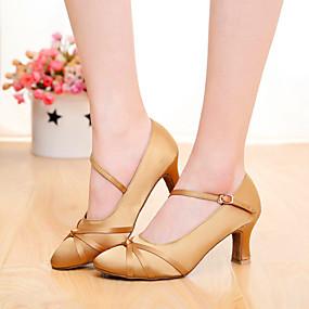 preiswerte SUN LISA®-Damen Tanzschuhe Seide Schuhe für modern Dance Schnalle / Band-Bindung Absätze Maßgefertigter Absatz Maßfertigung Schwarz / Braun / Orange / Innen / EU39
