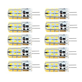 cheap LED Bi-pin Lights-10 pcs G4 Dimmable 2.5W 24LED SMD2835 Corn Light White / Warm White / AC12V / DC12V / AC220V