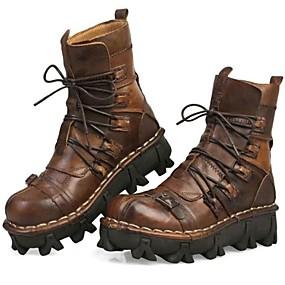 levne Větší obuv-Pánské Komfortní boty Nappa Leather Podzim / Zima Vintage Boty Turistika Do půli lýtek Černá / Světle hnědá / Party / Party