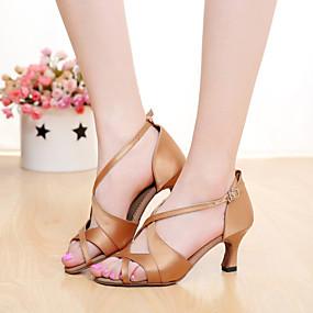 preiswerte SUN LISA®-Damen Tanzschuhe Satin Schuhe für den lateinamerikanischen Tanz / Salsa Tanzschuhe Schnalle Sandalen Maßgefertigter Absatz Maßfertigung Braun / Orange / Lila / Innen / Leder / EU40
