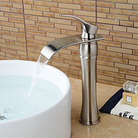 cheap Bathroom Sink Faucets-Bathroom Sink Faucet - Waterfall Simple Silver Nickel Brushed Vessel Single Handle One HoleBath Taps