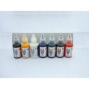 cheap Tattoo Ink-1-set-basekey-tattoo-ink-20mlx7-colors-red-brilliant-blue-white-black-green-golden-dark-brown