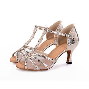 preiswerte Schuhe und Taschen-Damen Tanzschuhe Kunststoff Schuhe für den lateinamerikanischen Tanz / Salsa Tanzschuhe Schnalle / Tierdruck / Ausgehöhlt Sandalen Keilabsatz Maßfertigung Schwarz / Silber / Gold / Leistung / Leder