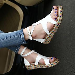preiswerte Sandalen mit flachen Absätzen-Damen Flat Heel Sandalen Plattform Schnalle Mikrofaser Creepers / Gladiator Sommer Schwarz / Braun / Grün