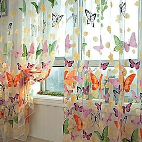 preiswerte Vorhänge und Gardinen-Durchsichtige Vorhänge mit Polyester-Druck im Wohnzimmer