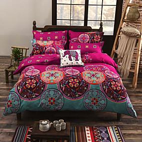 preiswerte Bohemian Bettbezüge-Bettbezug-Sets Blumen Baumwolle Reaktivdruck 4 StückBedding Sets / Twin-Size umfassen: 1 Bettlaken 1 Bettbezug und 1pillowcase umfasst die anderen Größen: 1 Bettlaken 1 Bettbezug, 2-teilig