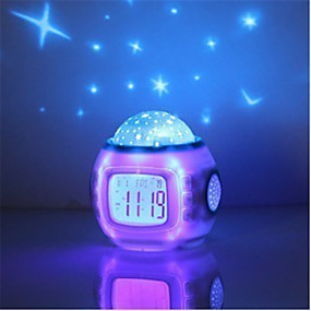 baratos Iluminação Noturna & Decoração-Música estrela estrelada céu digital led projetor staycation staycation despertador calendário decoração
