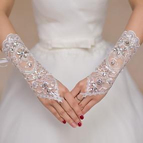 preiswerte Hochzeitshandschuhe-Spitze Handgelenk-Länge Handschuh Brauthandschuhe / Party / Abendhandschuhe Mit Strass