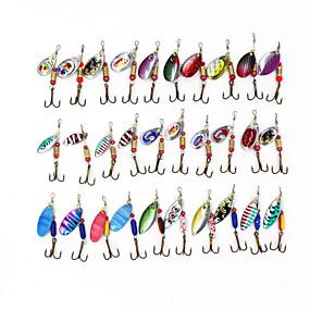 preiswerte Fishing-30 pcs Angelköder Harte Fischköder Buzzbait & Spinnerbait Köder Ködertasche Spinner Köder sinkend Schnell sinkend Bass Forelle Pike Seefischerei Köderwerfen Spinn Metal / Fischen im Süßwasser