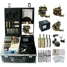 voordelige Tatoeagesets voor beginners-BaseKey Professionele tattoo-set Tattoo Machine - 3 pcs Tattoeagemachines Analoge voeding 3 x Stalen tatoeage machine voor lining and shading / Hoes inbegrepen
