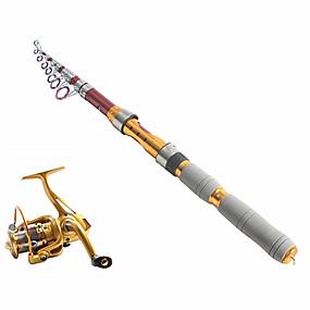 preiswerte Angelruten + Bandspule Kombinationen-Telespin Rute Angel Angelruten + Angelrollen Telespin Rute 290 cm Kohlenstoff Teleskop Mittelleicht(ML) Seefischerei