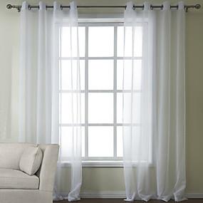 preiswerte Fensterdekoration-Maßgfertigt Durchsichtig Gardinen Shades zwei Panele 2*(W99cm×L178cm) / Schlafzimmer