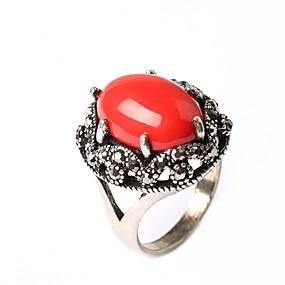 billige Vintage Ring-Dame Statement Ring Red Cora Skjermfarge Sølvplett damer Asiatisk Mote Fest Smykker Artisan Cocktail Ring Humør