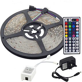 cheap Shop Lighting by Room-5m Flexible LED Light Strips / Light Sets / RGB Strip Lights LEDs 3528 SMD 8mm RGB Remote Control / RC / Cuttable / Dimmable 100-240 V / Linkable / Self-adhesive / Color-Changing / IP44