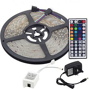 رخيصةأون تسوق الإضاءة حسب الغرفة-5m شرائط ضوء led مرنة / مجموعات الضوء / rgb قطاع أضواء المصابيح 3528 smd 8 ملليمتر rgb التحكم عن / rc / cuttable / عكس الضوء 100-240 فولت / linkable / ذاتية اللصق / تغيير لون / ip44