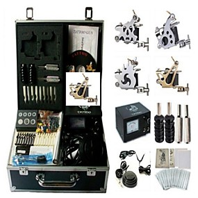 cheap Starter Tattoo Kits-BaseKey Professional Tattoo Kit Tattoo Machine - 4 pcs Tattoo Machines Analog power supply 4 steel machine liner & shader / Case Included