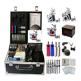 cheap Professional Tattoo Kits-BaseKey Professional Tattoo Kit Tattoo Machine - 3 pcs Tattoo Machines, Professional Alloy 20 W LCD power supply 3 steel machine liner & shader / Case Included